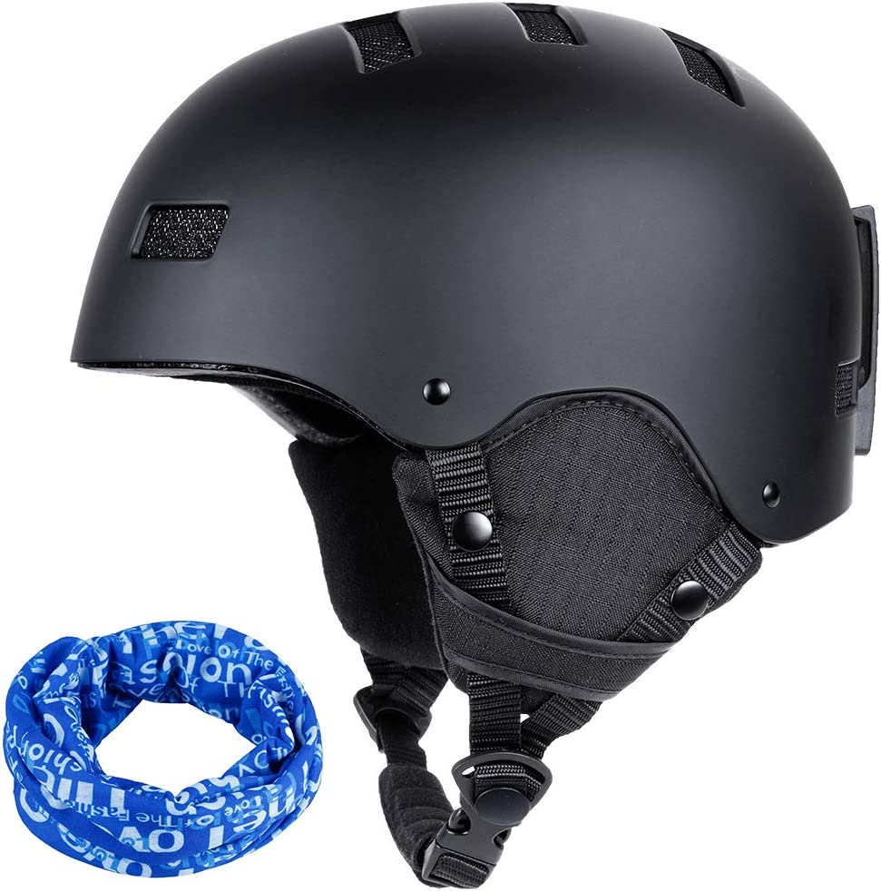Zacro Ski Helmet, CE and ASTM Certified Snowboard Helmet Adjustable Size with DetachableLiner, Compatible with Ski Goggles for Skiing, Bonus with a Sport Headwear M 54-60cm