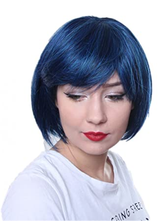 Prettyland Blau Schwarz Kurz Haar Bob Statikfreie Matte Natürlich Wie Echthaar Glatte Perücke Wig C555