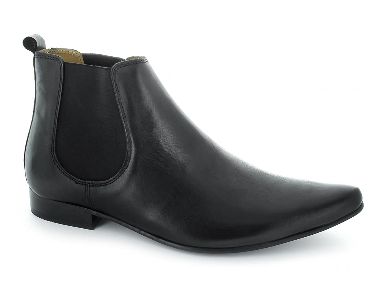 Vintage Inspired Dresses & Clothing UK Ikon SLY Mens Leather Pointed Chelsea Boots Black £55.63 AT vintagedancer.com