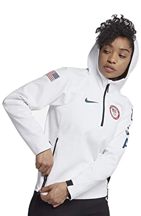 11c2c249ea2 Amazon.com  NIKE Sportswear Tech Fleece Team USA Women s Pullover Jacket  (White Obsidian