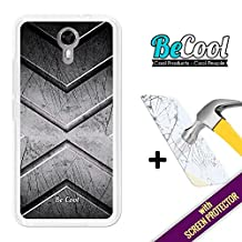 Ulefone Power 2 Cover Gel Flexible, [ +1 Tempered Glass Screen Protector ], TPU Becool Premium® Case made of Silicone, protects your Smartphone, with our exclusive designs. Stell texture.