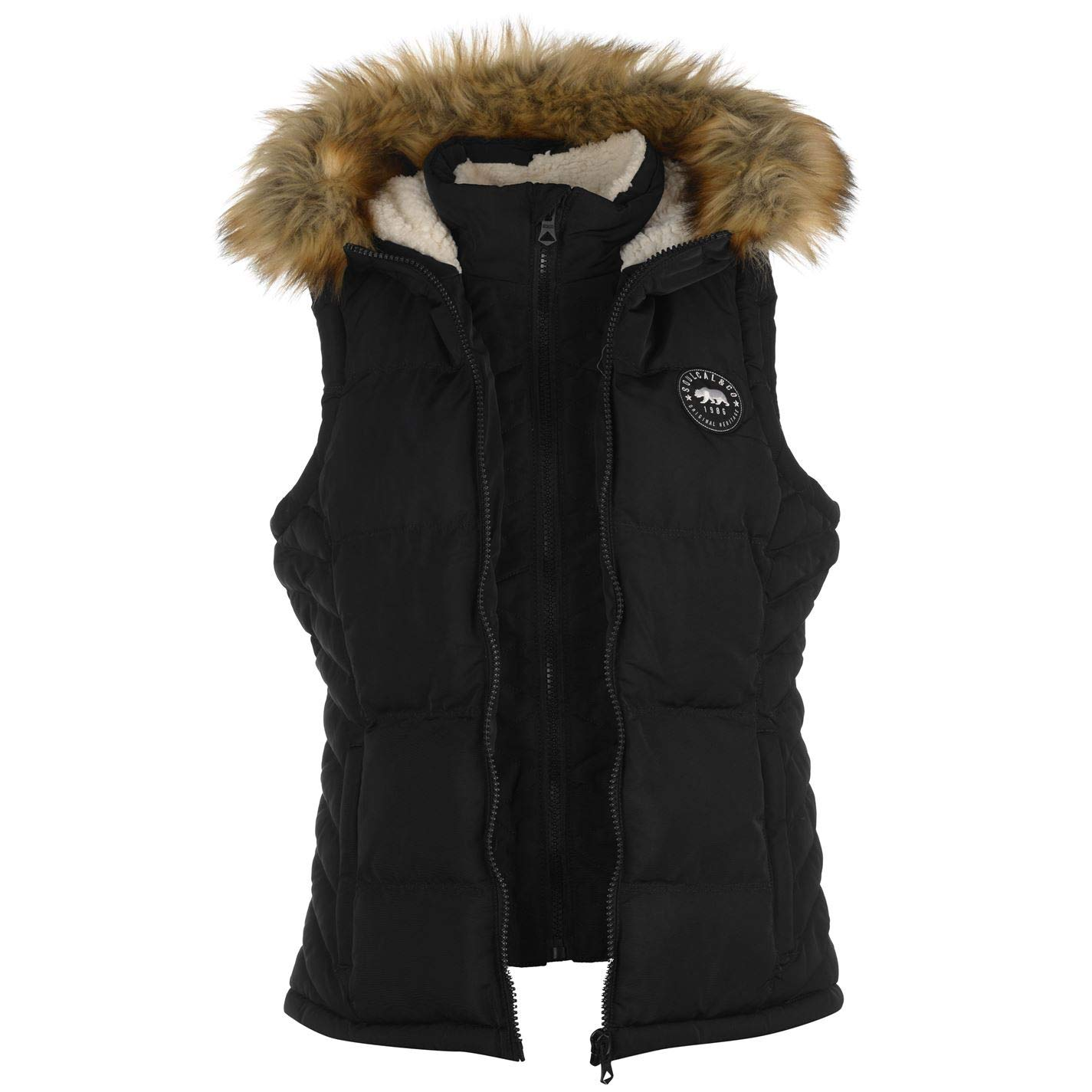 Black 10 (S) SoulCal Womens 2 Zip Gilet Ladies Quilted Sleevless Hooded Vest Top