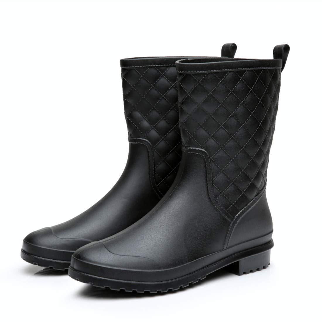 Yvmurain Women's Mid Calf Rain Boots Waterproof Garden Shoes Outdoor Work