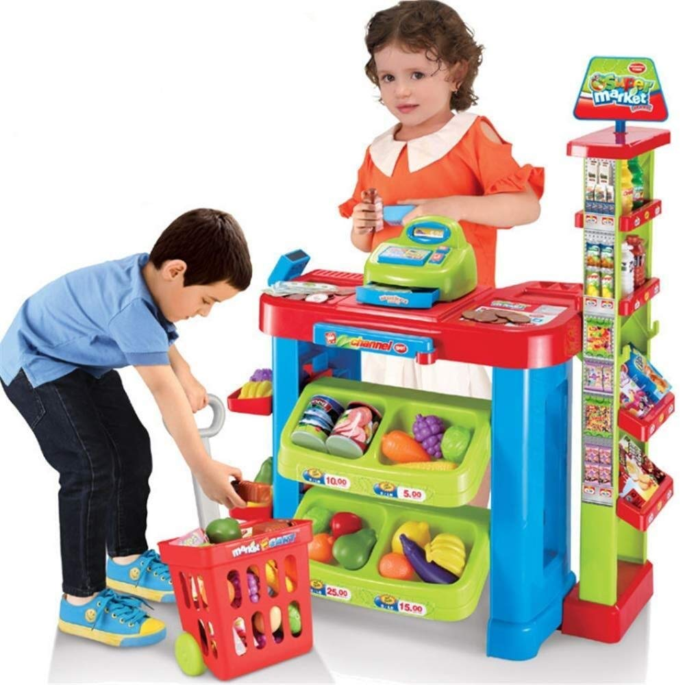 LIULAOHAN Tent, Kids Fun Toys to Buy and Sell Pretend Toys Family Supermarket Shopping cart Suit Girls Boys Market Stalls Toys Shopping Sales Cashier Toy Toys Interesting Toy