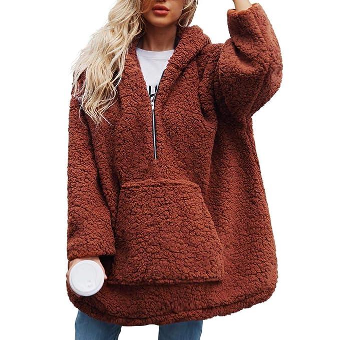 FELZ Abrigos Mujer Invierno Abrigo Capa del suéter de la Cremallera con Capucha del Color sólido