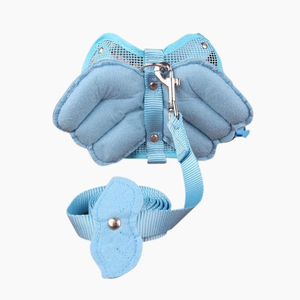 犬用フロントクリップハーネス、 犬ハーネスノープルペットハーネスエンジェルウィング犬の容易な制御のための調節可能な屋外のペットベストナイロン素材ベスト (Color : Blue)