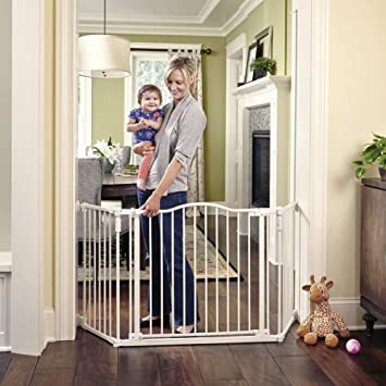 "Provides safety in extra-wide North States 72/"" Wide Deluxe Décor Baby Gate"
