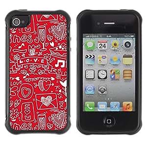 "Pulsar iFace Series Tpu silicona Carcasa Funda Case para Apple iPhone 4 / iPhone 4S , Corazón Sketch Dibujo Nota Música"""