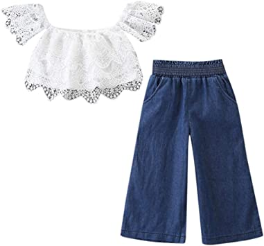 Toddler Baby Girls Off Shoulder Lace Crop Top Denim Shorts and Maxi Skirt Outfit Set