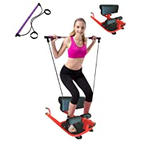 X Factor Multi Function Deep Sissy Squat Bench Home Gym Machine with Pilates Bar & Resistance Bands Kit - Leg Exercise ABS Machine Abdominal Exercises Sit Ups Push Ups -Squat Workout Strength Training