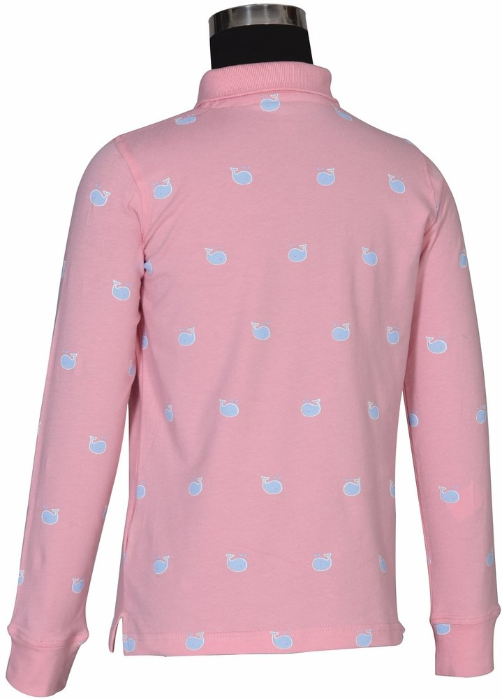Pink, L Equine Couture Childrens Whales Polo Shirt