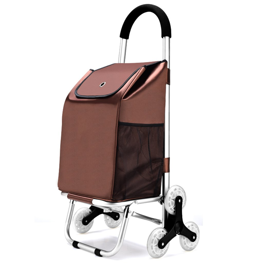 G.CHEN Folding shopping cart, stair climbing car sundries laundry wheel bearing stainless steel frame (Brown, 89 x 45x39 cm) (Color : A) cheng