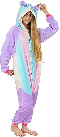 Damen Fleece Einteiler Nachtwäsche Pyjama Kostüm Regenbogen Einhorn bunt Gr L