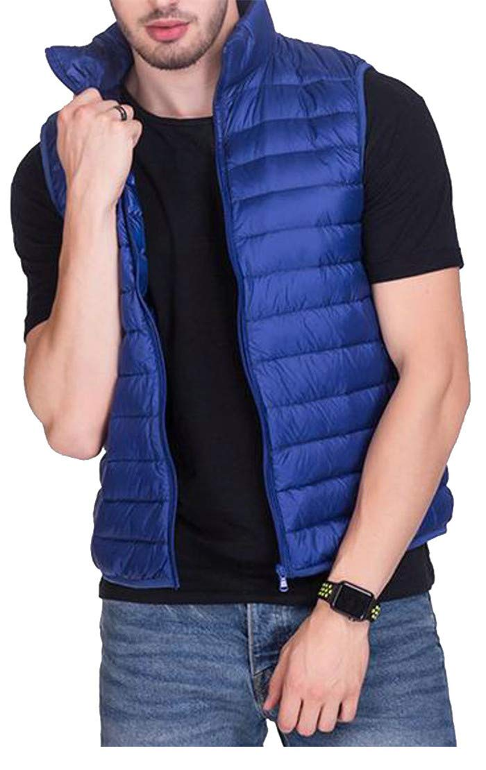 Pivaconis Men's Lightweight Winter Stand Collar Zipper Sleeveless Quilted Jacket Down Vest Jewelry Blue s