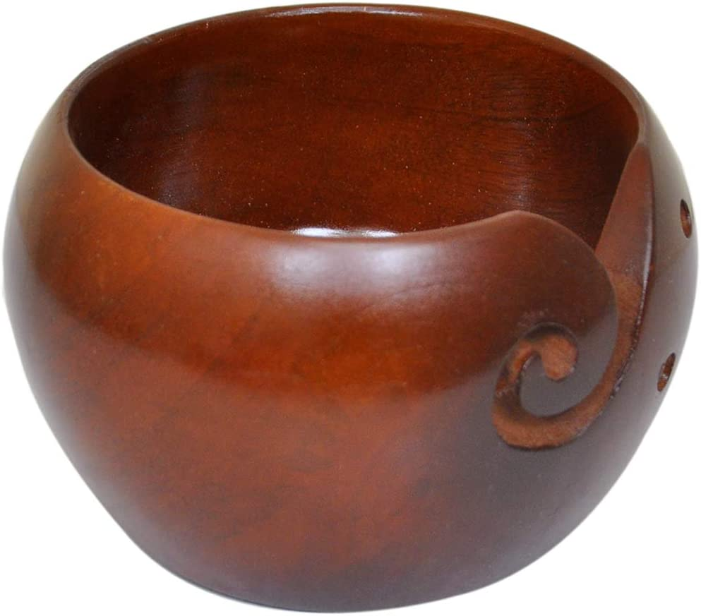 Kitchen Supplier Merry Christmas 2020 Collection Handmade Jumbo Wooden Yarn Bowl for Knitting and Crochet 6x4 Inch Handcrafted Premium Mango Wood