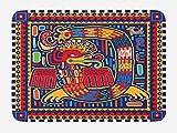 ''Lunarable Mexican Bath Mat, Aztec Culture Pattern Ethnic Colorful Mythology Artwork Ancient Snake, Plush Bathroom Decor Mat with Non Slip Backing, 29.5  X 17.5  Inches, Indigo Mustard Orange''