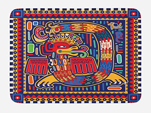 """Lunarable Mexican Bath Mat, Culture Pattern Colorful Artwork Abstract Snake in Vivid Folk Style, Plush Bathroom Decor Mat with Non Slip Backing, 29.5"""" X 17.5"""", Mustard Orange"""