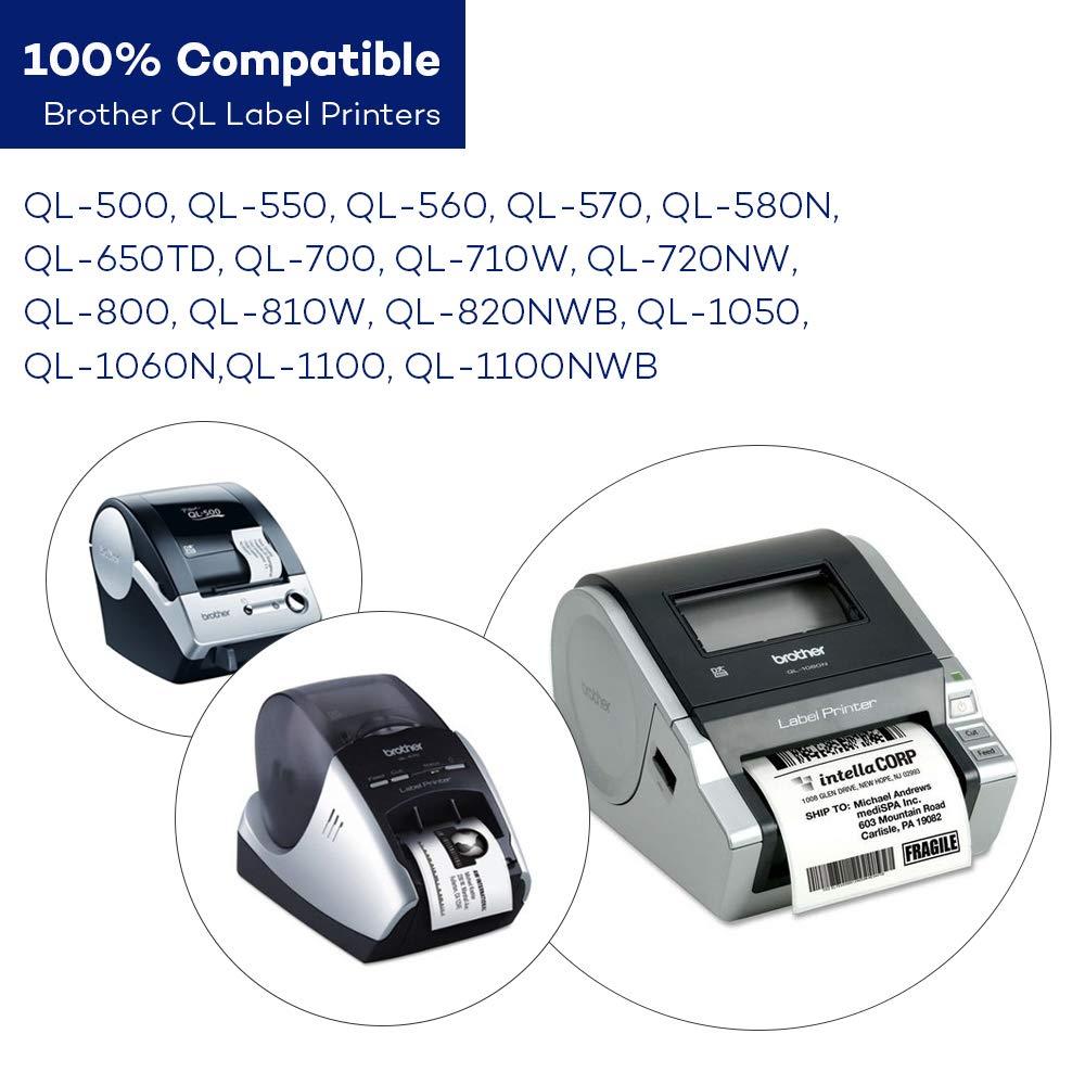 30.48m Continu Compatible pour Imprimante D/¨/¦tiquettes Brother Livre Blanc DK22205 CidyLabel 1 PC Recharge Rouleaux De Papier Thermique DK-22205 /¨/¦tiquette 62mm