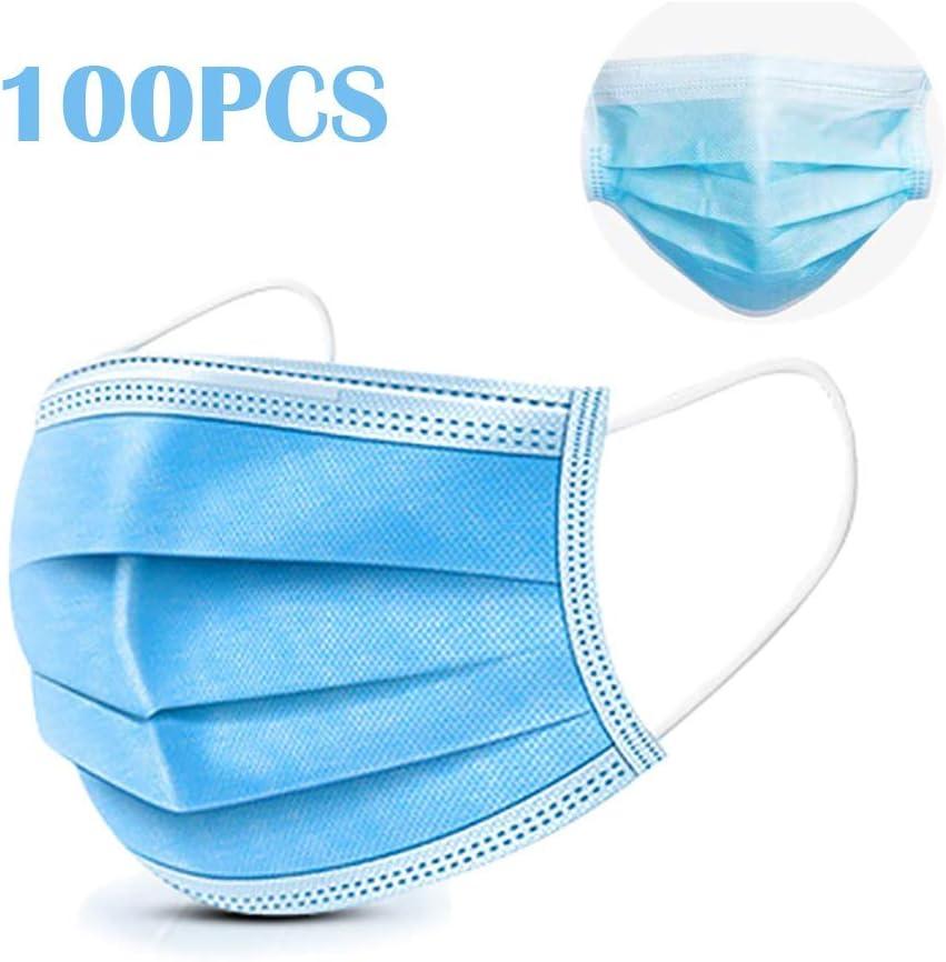 DOUBLX Cara M-A-S-K-S, Boca desechable M-a-s-k Anti PM2.5 Anti-neblina Transpirable -Máscara de Bolsa con Polvo sellada,Azul,100PCS