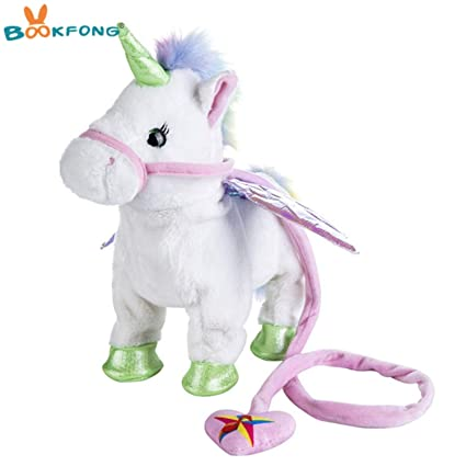 Amazon Com Jewh Lovely Electric Walking Unicorn Plush Toy Soft