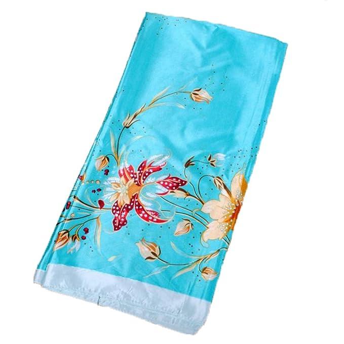 a7456b77a RongShi Gran Gráfico Floral Bufanda de Pañuelo de Seda de Pañuelo de Seda  Mujeres Accesorio para el Cabello 90 x 90 CM  Amazon.es  Ropa y accesorios
