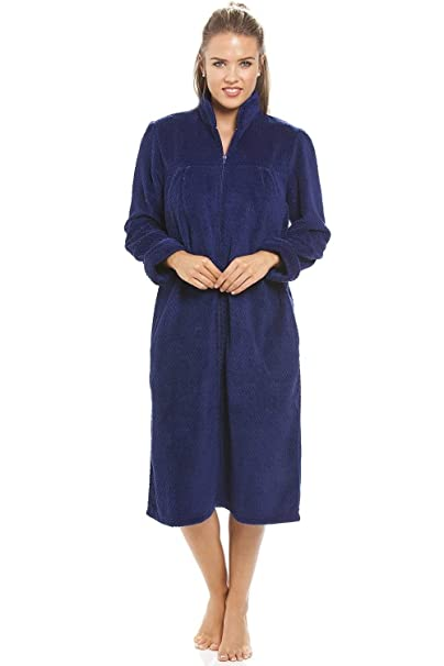 aea4d7d389 Camille Womens Ladies Soft Fleece Navy Blue Zip Front House Coat Robe 6 8