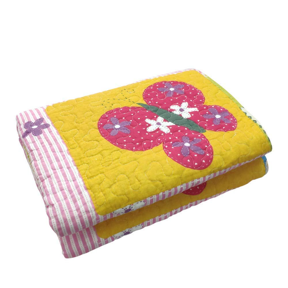 """Abreeze 100% Natural Cotton Bedding Butterfly and Heart Bedspread Throw Blanket for Girl's Bed Gift 43"""" X 51"""""""