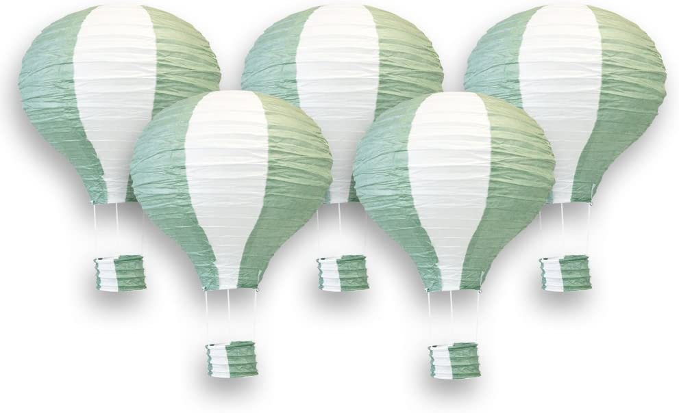 Just Artifacts Decorative 12-Inch Hot Air Balloon Paper Lanterns (5pcs, Sage Green & White)