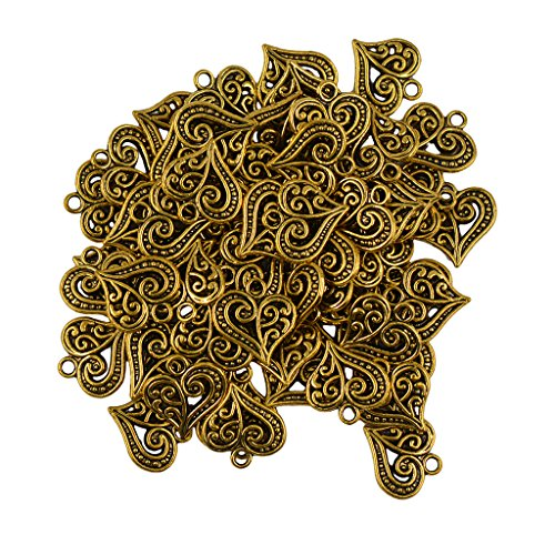 Flameer 50X Vintage Antique Gold Filigree Heart Pendants for DIY Jewelry Accessory ()