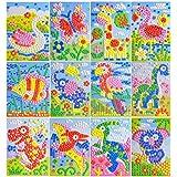 YOOMUN Mosaic Sticker Art Sticky DIY Handmade Art Kits for Kids - Children's Handmade Materials Educational Toys-12PCS Different