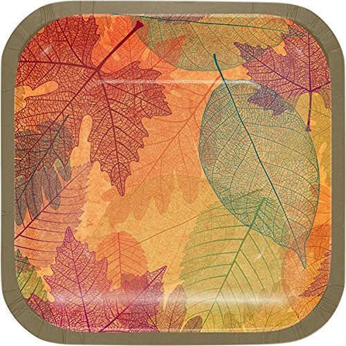 Creative Converting 324076 Party Art Paper Plate Burnished Leaves -
