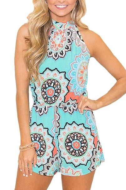 ba4ae45c5ac Spadehill Women Strap Beach Boho Jumpsuit Summer Sleeveless Cotton Floral  Print Casual Short Romper Light Blue
