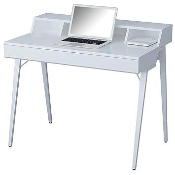 Sixbros Computerschreibtisch Schreibtisch Hochglanz Weiß Ct 3580n