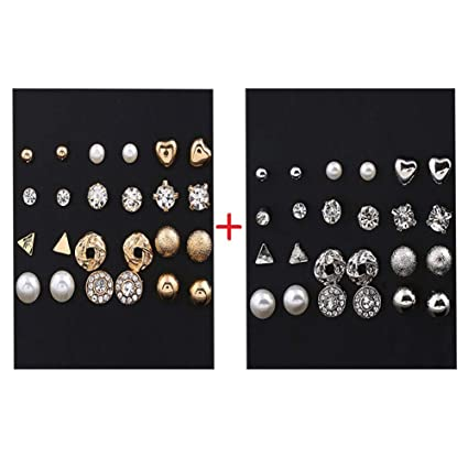 a0deca21c240e7 Image Unavailable. Image not available for. Color: Stud Earrings for Women  Men Round Crystal Pearl Earring Set Silver Gold Ear Stud Jewelry for