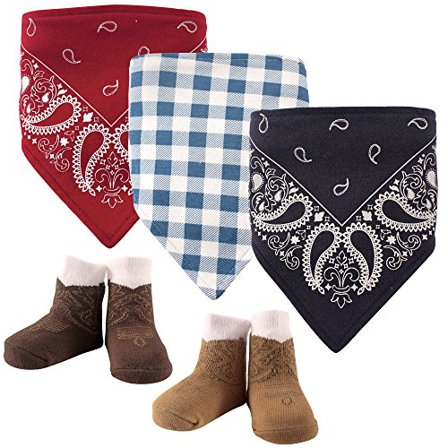 Hudson Baby  Bandana Bib & Socks Set, 5 Piece Accessory, boy western, One Size