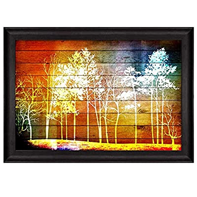 Dazzling Work of Art, Illustration of Trees in The Forest Over Colorful Watercolor Wooden Panels Nature Framed Art, Classic Artwork