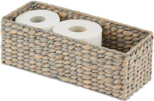 White /& Grey Wicker Toilet Roll Holder With Lid Bathroom Storage Decor
