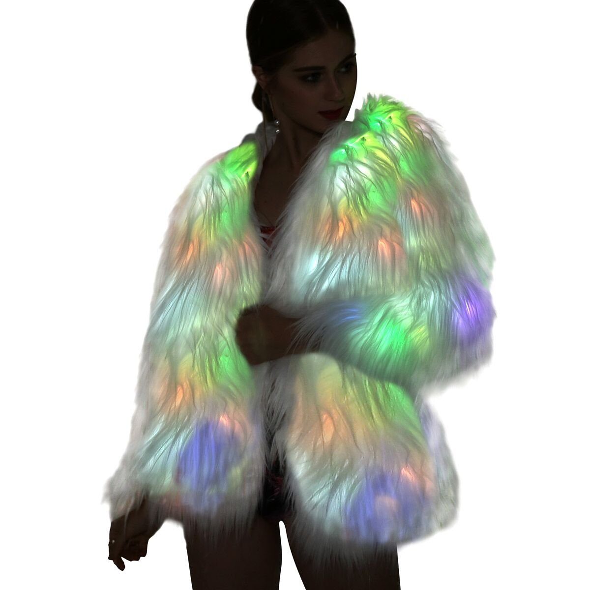 SZTOPFOCUS Women Vintage Winter Outwear Warm Light up Burning Glow Fluffy Faux Fur Coat Sparking Rainbow LED Costume Jacket (White, S)