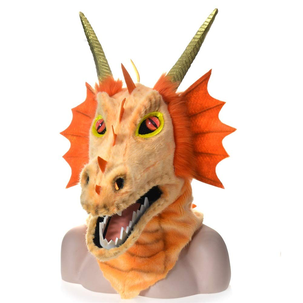 KX-QIN Halloween Carnival Animal Cosplay Party Grey Dragon Head Moving Mouth Animal mask Deluxe Novelty Halloween Costume Party Latex Animal Head Mask for Adults and Kids (Color : Orange) by KX-QIN