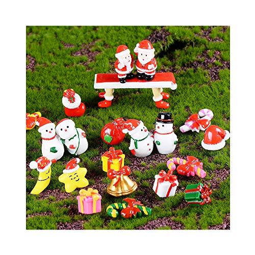 BoomTeck Miniature Garden Ornaments 21 Pcs Mini Santa Snowman Cute Fairy Garden Accessories DIY Kits for Xmas Bonsai Craft Cactus Garden Micro Landscape Dollhouse Indoor Outdoor Home Decor
