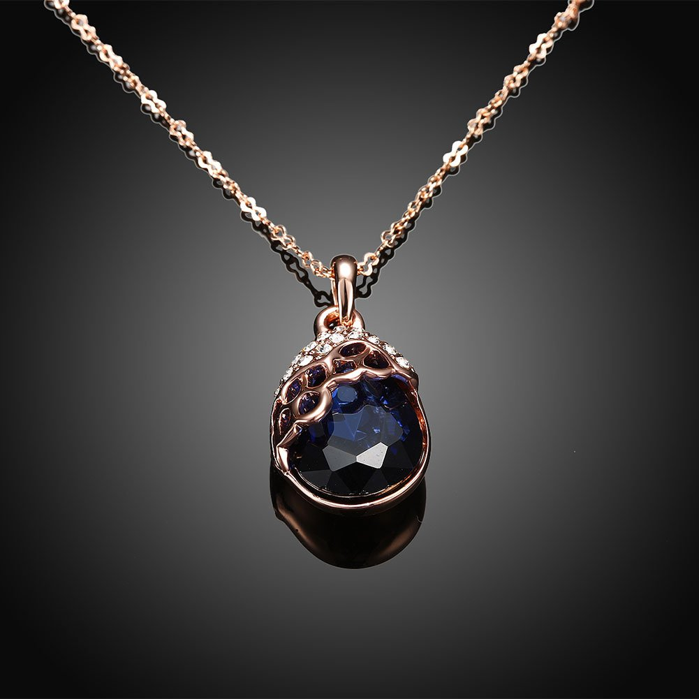 LQinuan Elegant Pendants Rose Gold Plated Necklaces Crystal Jewelry Zirconia Gemstones Chain for Women Girls