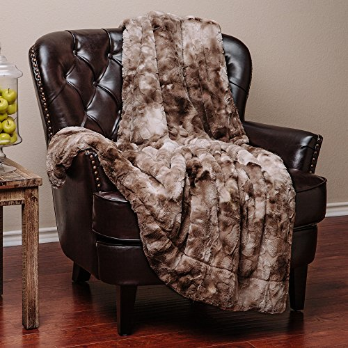 Chanasya Faux Fur Throw Blanket   Super Soft Fuzzy Light Weight Luxurious Cozy Warm Fluffy Plush Hypoallergenic Blanket for Bed Couch Chair Fall Winter Spring Living Room (60 x 70) - Beige