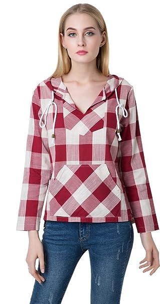Mujer Moda Hooded Hoodie Plaid Cuadros Guinga Paracalle Modelo Escote Pronunciado en V Pullover Blusón Blusa