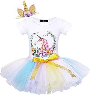AmzBarley Vestito di Unicorno Festa Compleanno Bambina Ragazza Il Mio Primo Compleanno Abito Bimba Ragazze Tre Pezzi Cotone Pagliaccetto Gonna Tutu Fascia per Capelli Abiti Vestire Unicorn Birthday Outfits