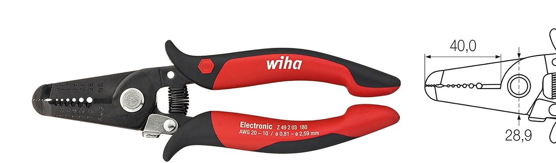 Wiha Z49218003SB Abisolierzange Electronic Abisolierstationen 0, 8-2, 6 mm (36794) 180 mm, 5 Stü ck