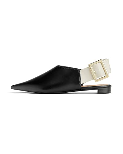 239fc0ea4564 Zara Women s Flat Slingback Shoes with Maxi Buckle 3520 001 (2 UK) Black