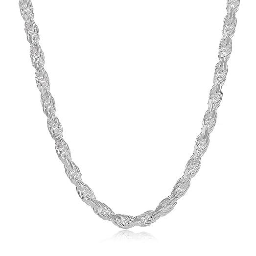 2.6mm 925 Sterling Silver Nickel-Free Diamond-Cut Rope Link Italian Chain + Bonus Polishing Cloth yILNtFWfa