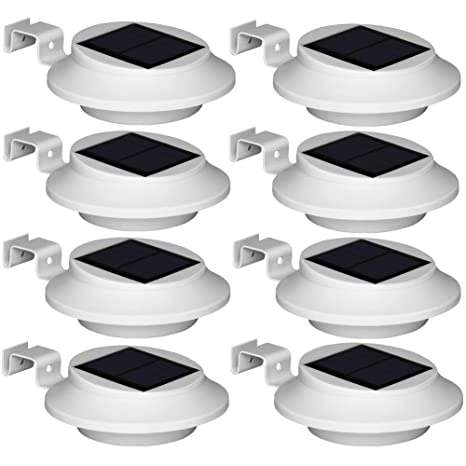 NEW 8 X BLACK SOLAR POWERED LED GUTTER FENCE LIGHT OUTDOOR LIGHT GARDEN LIGHT