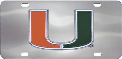 FANMATS NCAA Miami Hurricanes Die Cast License Platedie Cast License Plate Chrome 6X12