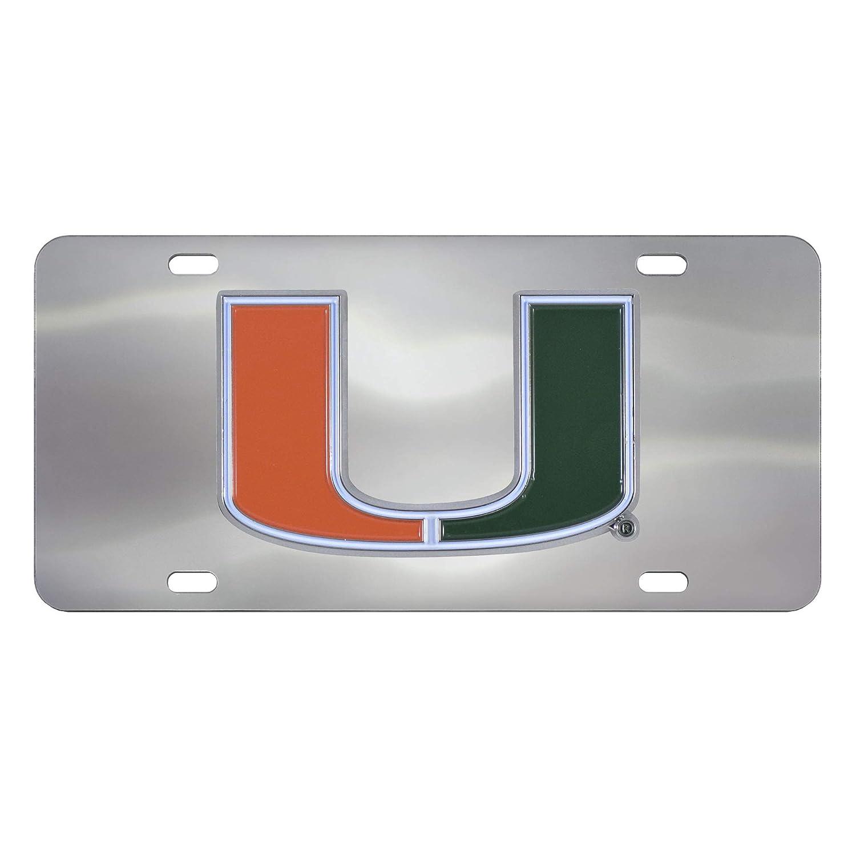 SLS Miami Hurricanes 3D Logo Chrome License Plate